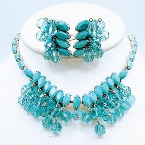 VTG Signed Wiesner Aqua Blue RS Necklace Earrings